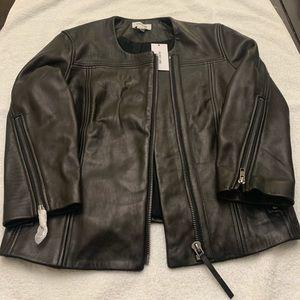 Brand new black leather jacket.